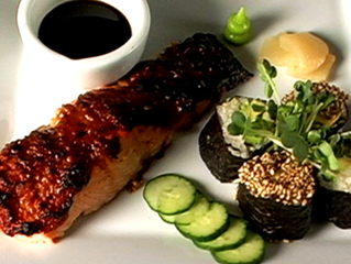Asian-ish Glazed Salmon with Avocado Sushi