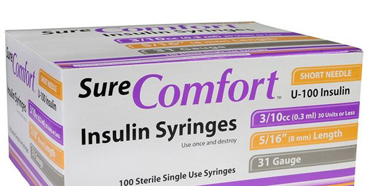 "Sure Comfort Syringes 31G  5/16""  1/2cc 100/Box"