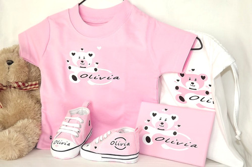 2ddf59dd13c7 Kid s personalised pink T-shirt with white Hug Me Bear Deluxe Gift Set by  The Kid s personalised pink converse style ...