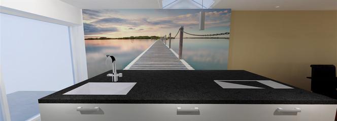 3D render keukenwand