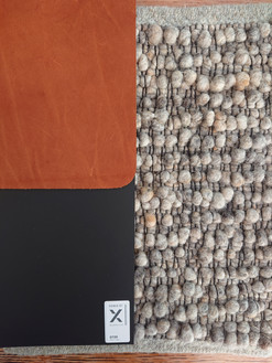 materialen karpet, leer en voorgestelde