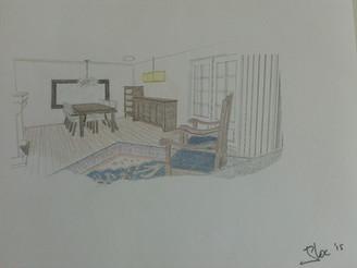 3D schets eethoek en middenstuk