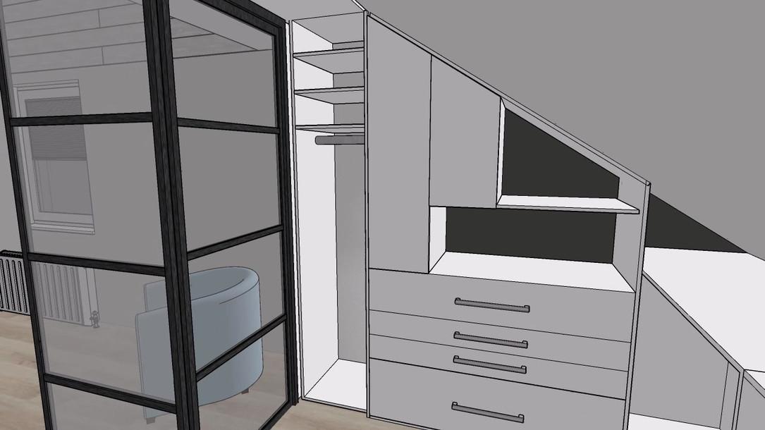 3D ontwerp vide en inloopkast