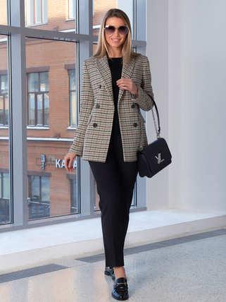 Женский пиджак 2103 бежево-серого цвета