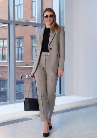 Женский пиджак 2108 серо-бежевый