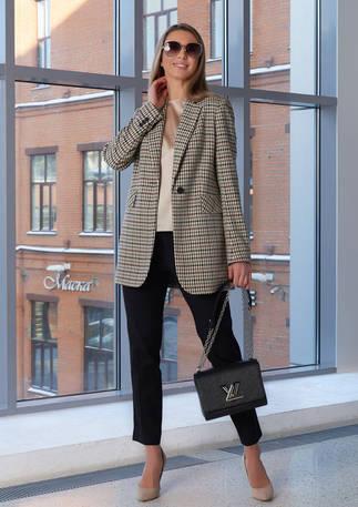 Женский пиджак 2104 бежево-серый