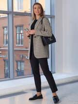 Женский пиджак 2104 бежево-серого цвета