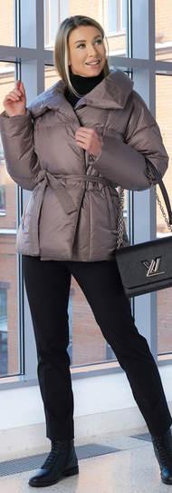Женская куртка 2029 A&I бежево-серого цвета