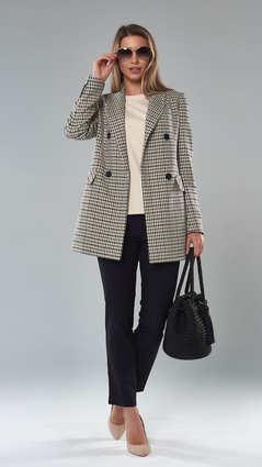 Женский пиджак. 2114_Бежево-Серый