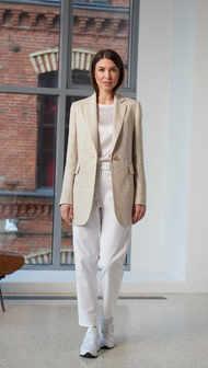 Женский пиджак 2102. Бежевый-Меланж