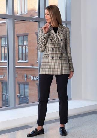2103_Женский пиджак бежево-серого цвета.