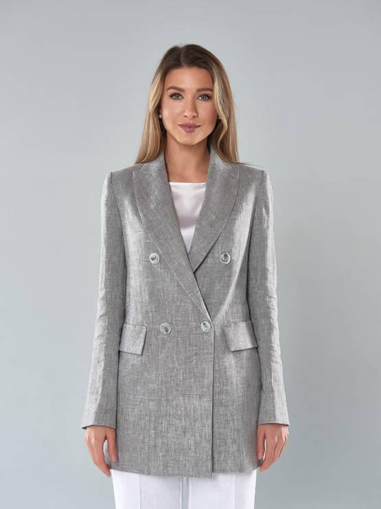 2112_Серый-меланж, женский пиджак