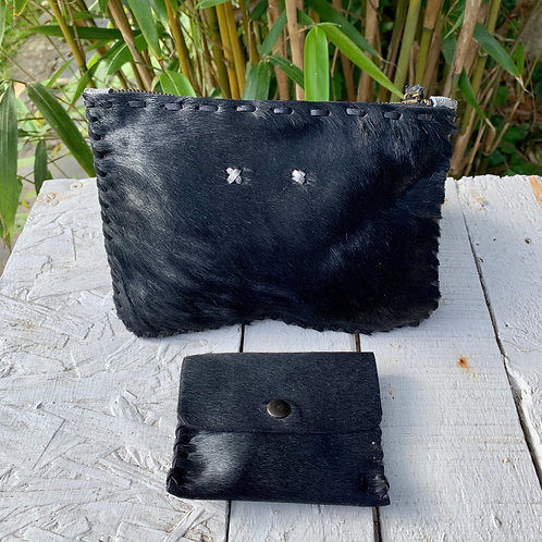 BLACK COW POUCH £55 & COIN PURSE £25