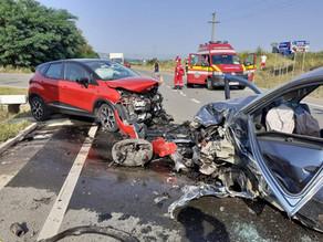 IMAGINILE IMPACTULUI VIOLENT. Accident în lanț pe DN 7, produs de un șofer beat