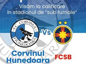 Corvinul Hunedoara o va întâlni pe FCSB în data de 22 septembrie începând cu ora 21:30