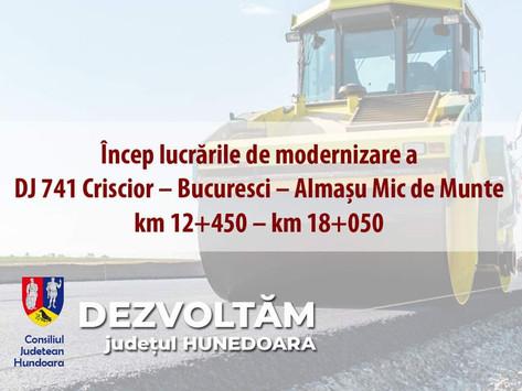 Încep lucrările de modernizare a 𝗗𝗝 𝟳𝟰𝟭 Criscior – Bucuresci – Almașu Mic de Munte