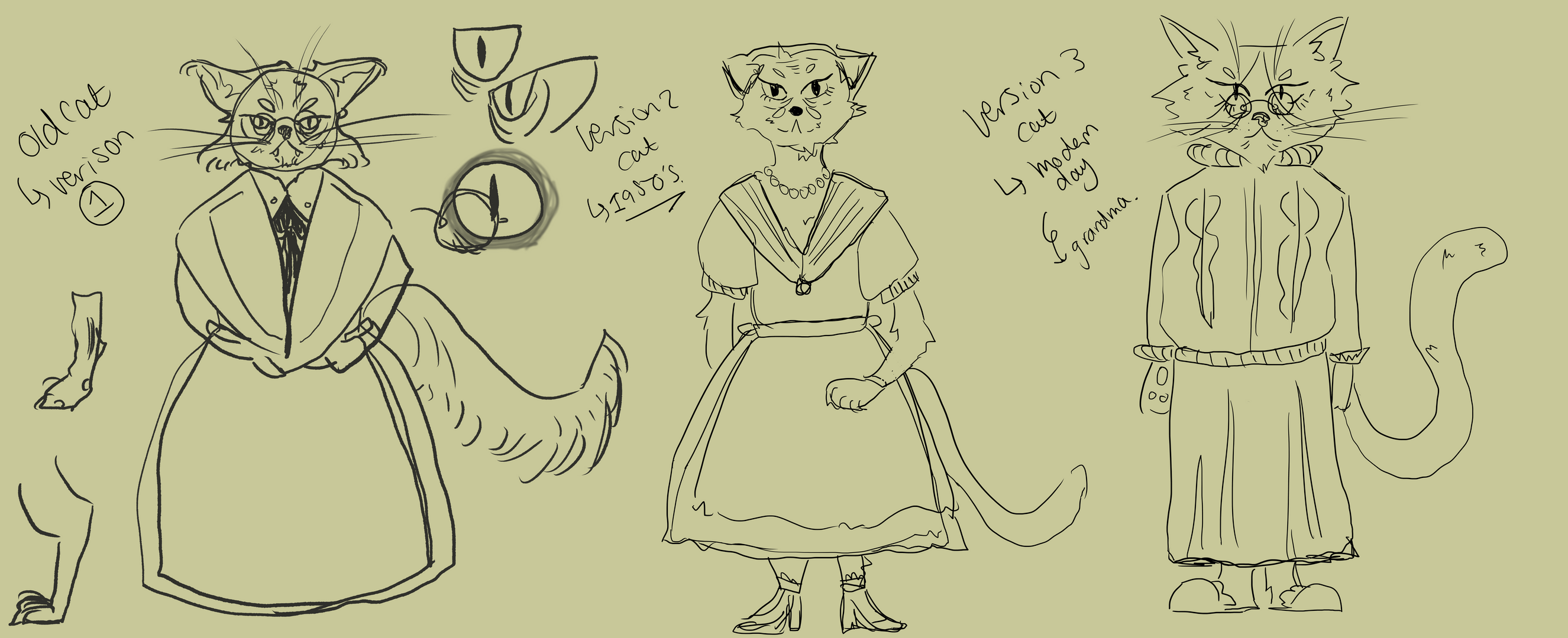 Old sly cat - First sketches