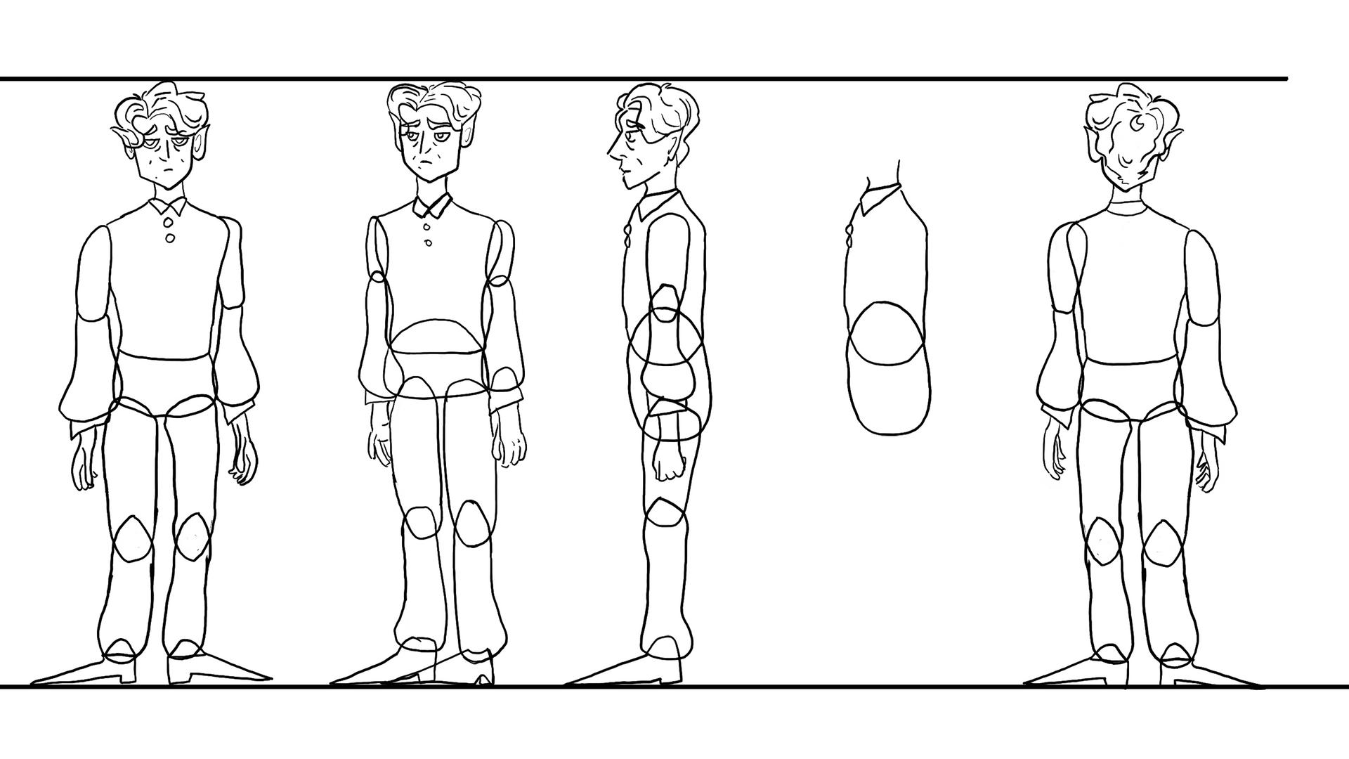Batthew - Character turnaround (line art)