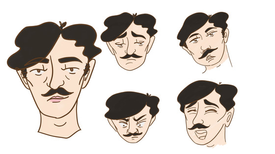 Expression sheets for two characters.