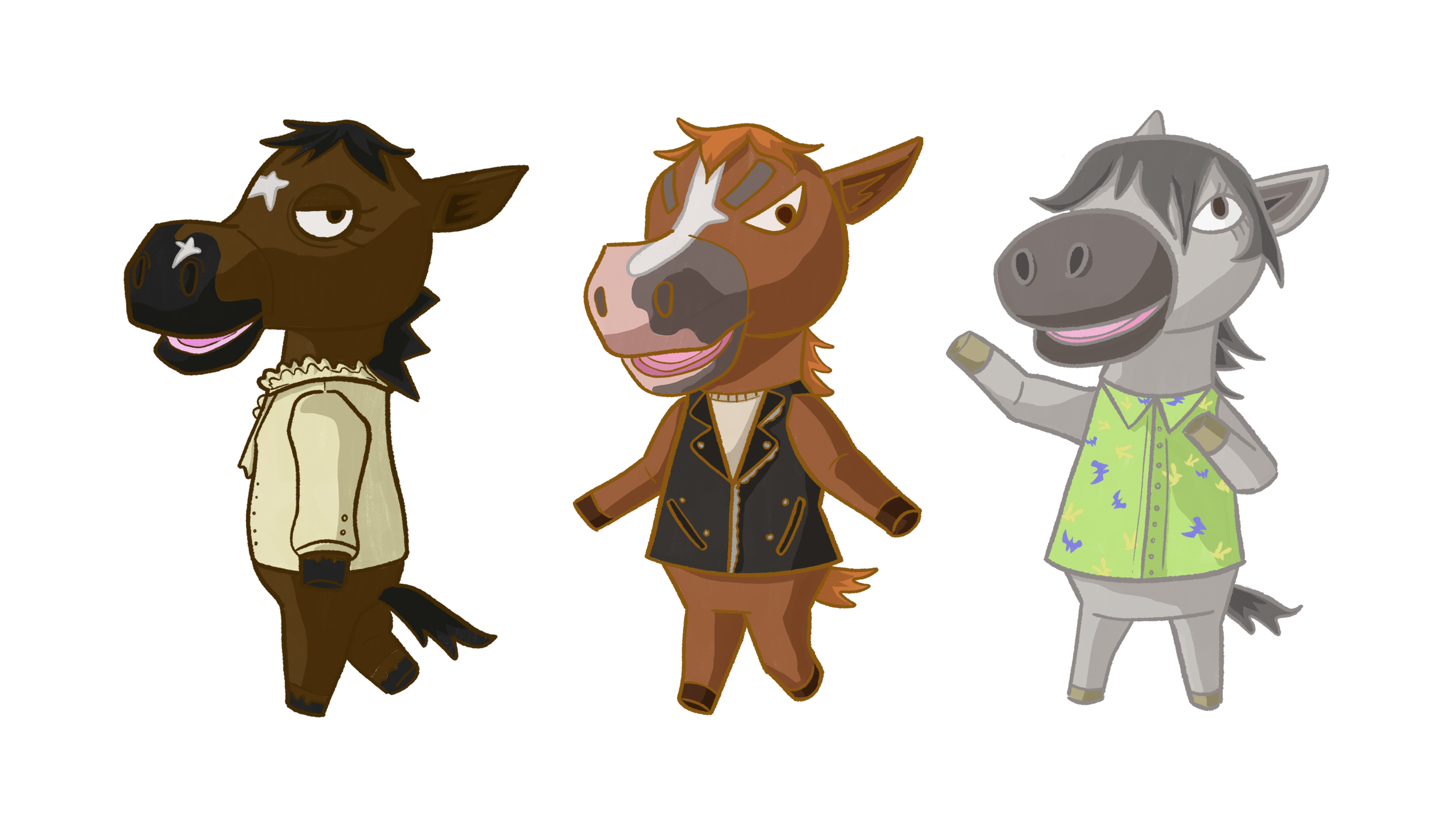 The horses as Animal Crossing characters