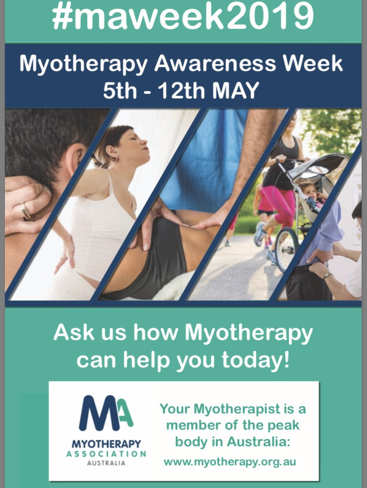 Myotherapy Awareness Week 2019 runs from May 5th-12th. What is Myotherapy? Myotherapy is the assessment, treatment and management of soft tissue dysfunction and pain relating to, various Musculoskeletal conditions and Injuries. for more information about Myotherapy or to book an appointment visit movemyotherapy.com.au.