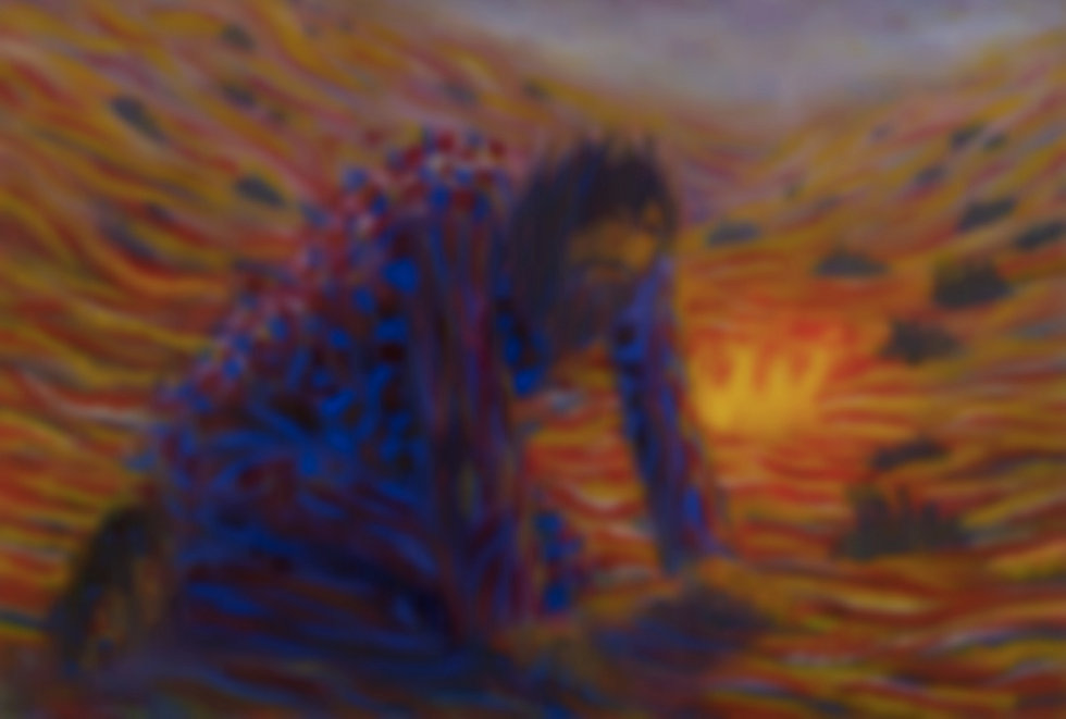 Blurred humbled man oil painting