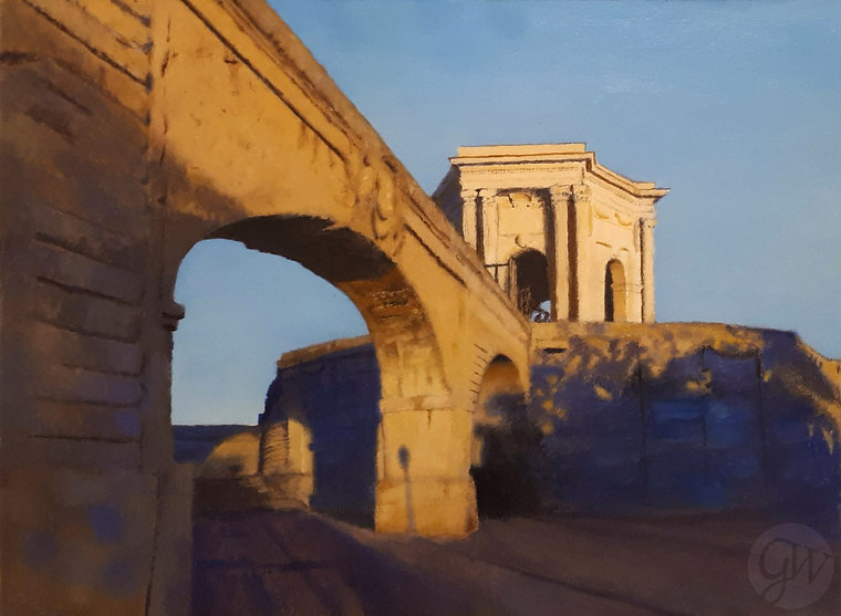 Oil Painting of Aqueduct, Montpellier