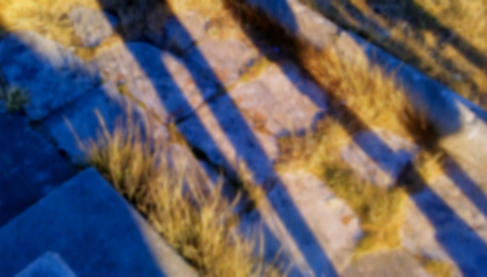 Shadows of people on stone and grass
