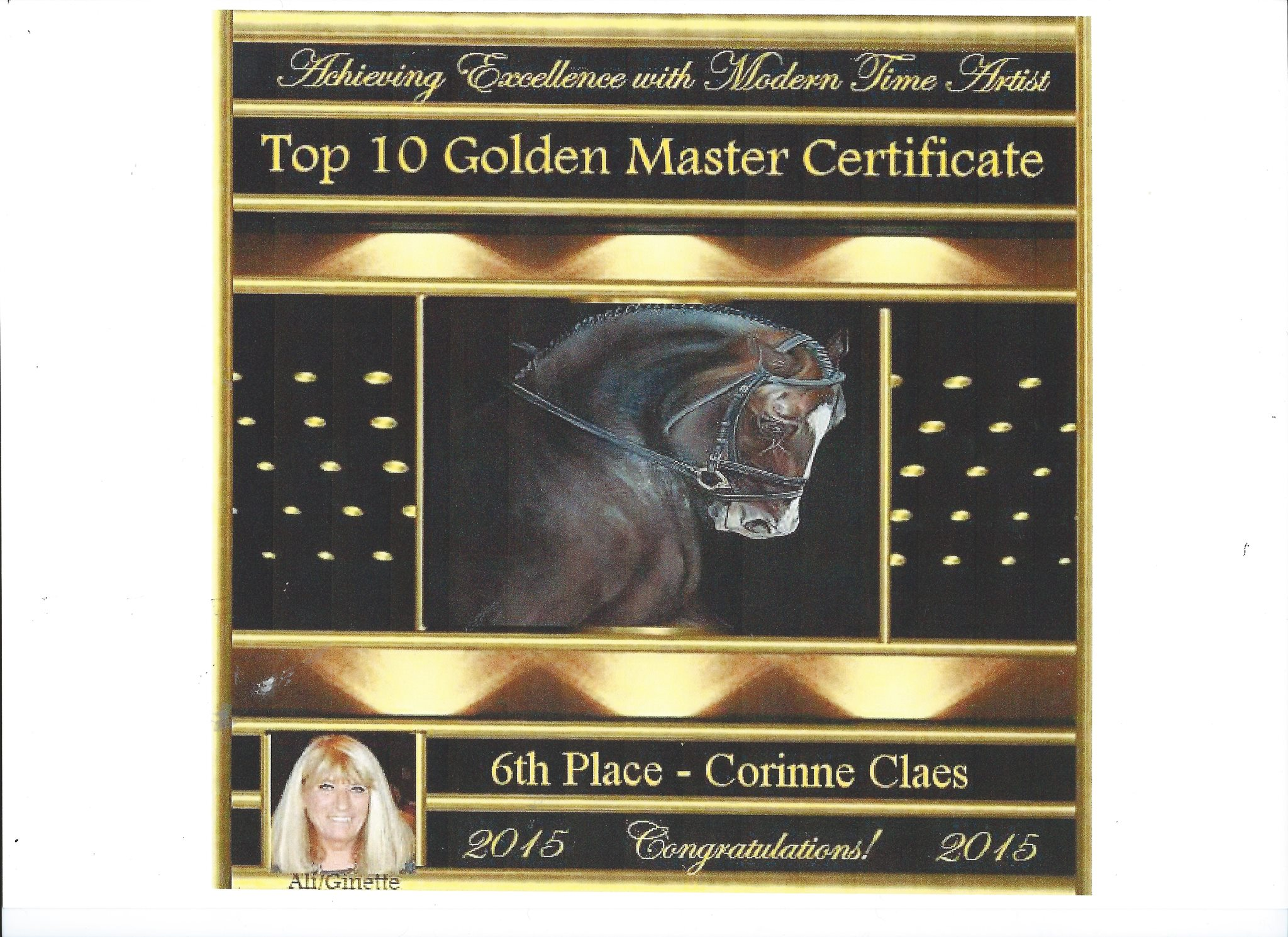 Golden Artist Certificate