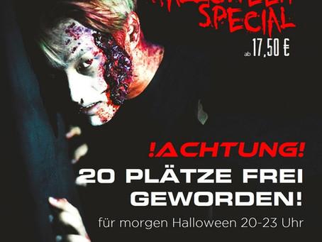 20 Plätze frei geworden für das LaserTag Halloween Mega Special morgen Mittwoch, 31.10., von 20-23 U