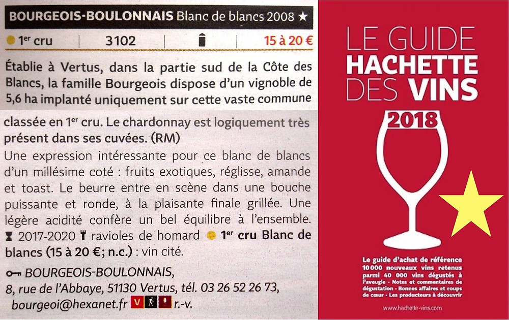 Commentaires Guide Hachette des vins 2018, Champagne Bourgeois-Boulonnais