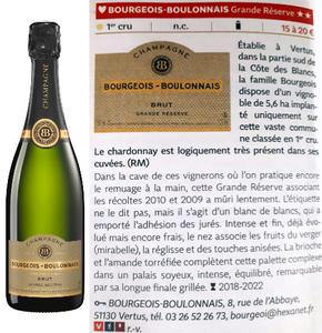 Coup de coeur guide Hachette des vins 2019, champagne Grande Réserve Bourgeois-Boulonnais premier cru