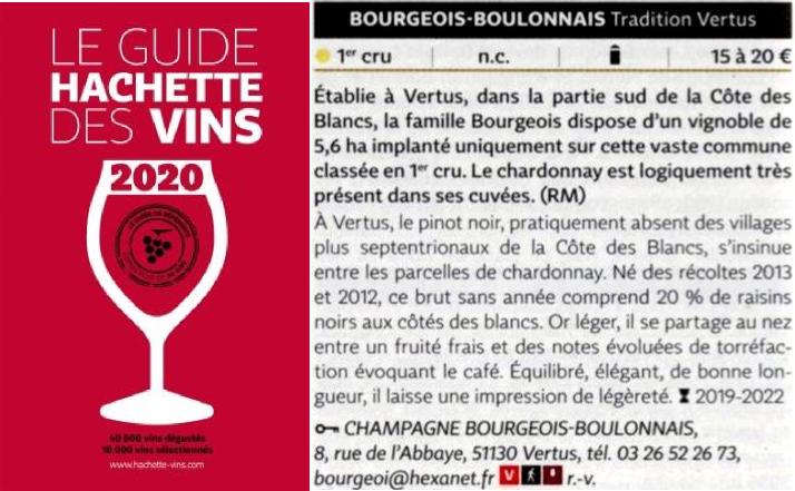 Guide Hachette des vins 2020, champagne Bourgeois-Boulonnais premier cru
