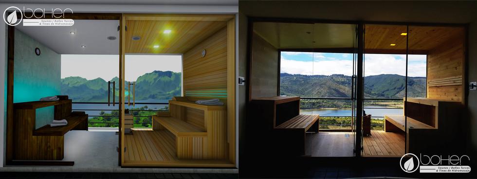 Sauna en Listones de Pino Blanco y Baño Turco en Listones de Teka