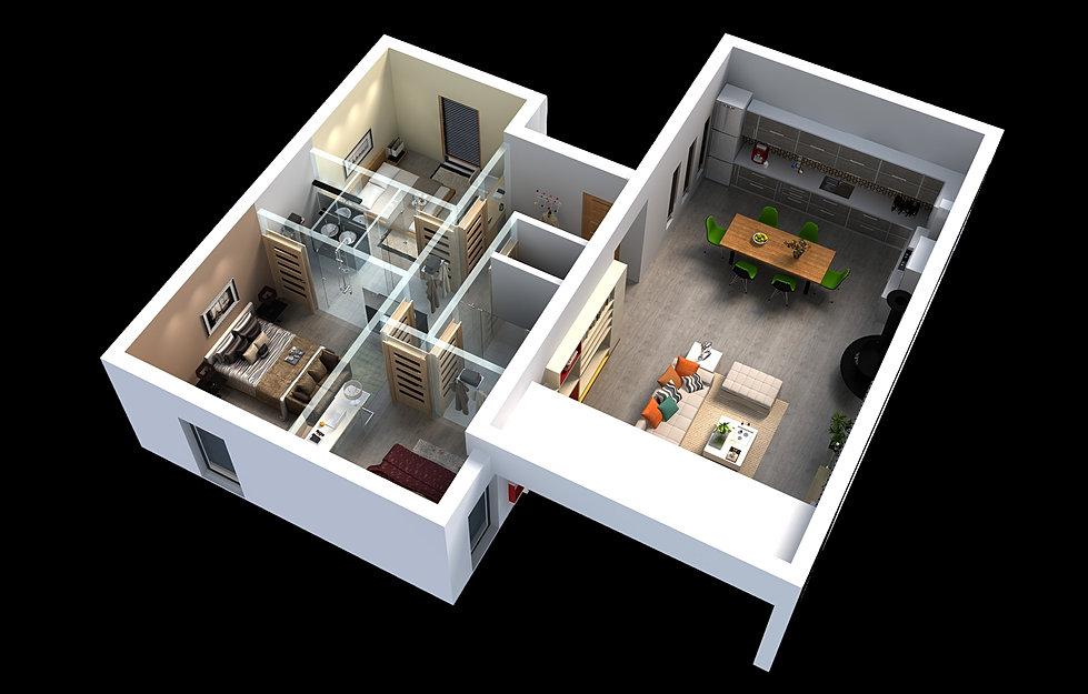 Maison plan 3d 50 plans 3d avec 2 chambres 3d for Plan interieur maison moderne 3d
