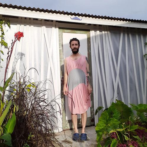 Vestido Útero rosa com Mescla