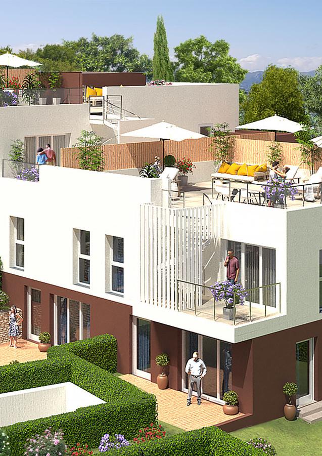 3D extérieure - Programme neuf à Valbonne - 2019 par Bureau des Perspectives 3D