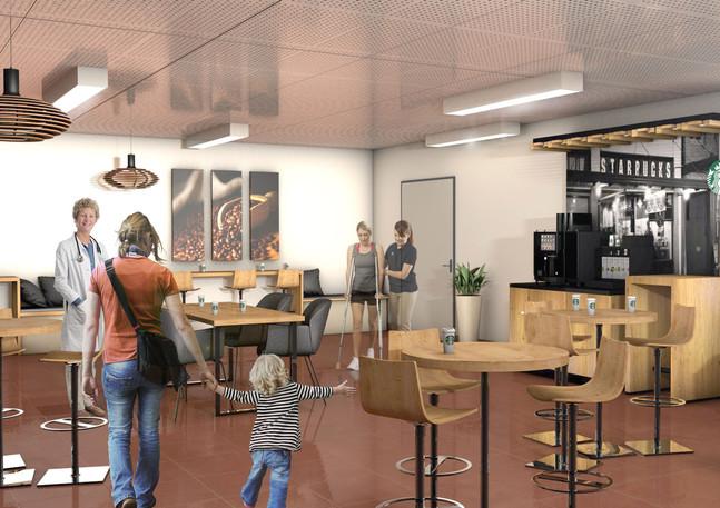 3D intérieure - Starbucks Pause à CHU Parisien - 2019 par Bureau des Perspectives 3D
