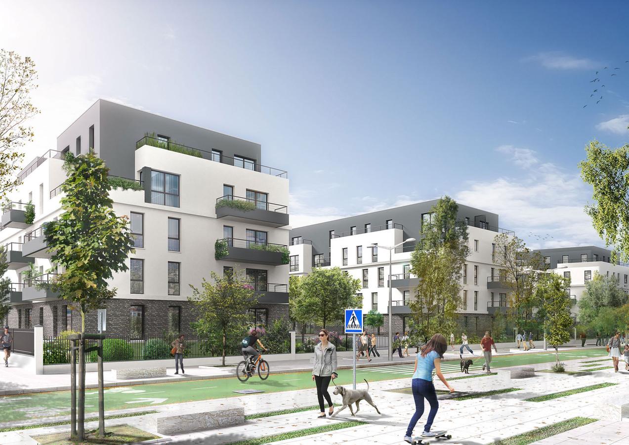 3D extérieure - Programme Immobilier à Villiers sur Marne (94) - 2018 par Bureau des Perspectives 3D