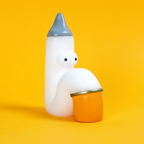 sad ciggie resin figure by Mikko Heino