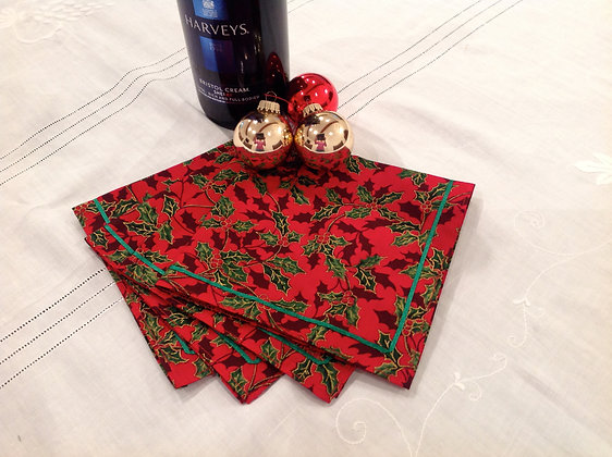 4x Red Holly Fabric Chistmas Table Napkins