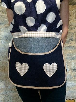 Apron Style Blue Denim & Beige Gingham Peg Bag