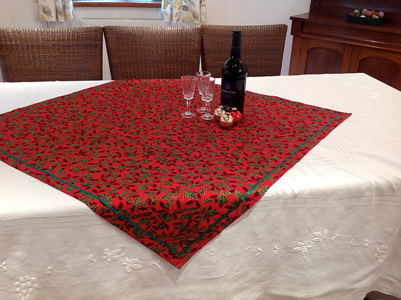 Red with Holly Christmas Overlay Table Cloth