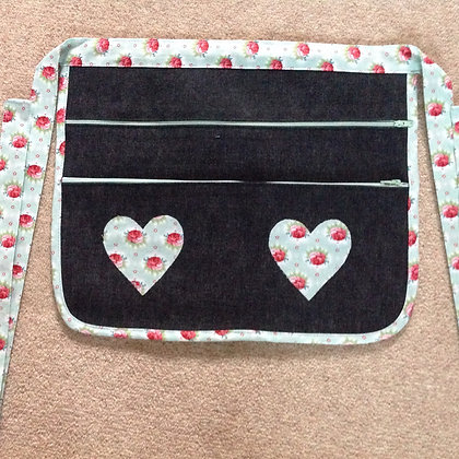 Boot/Craft Fair Money Belt/Bag Turq  Hearts