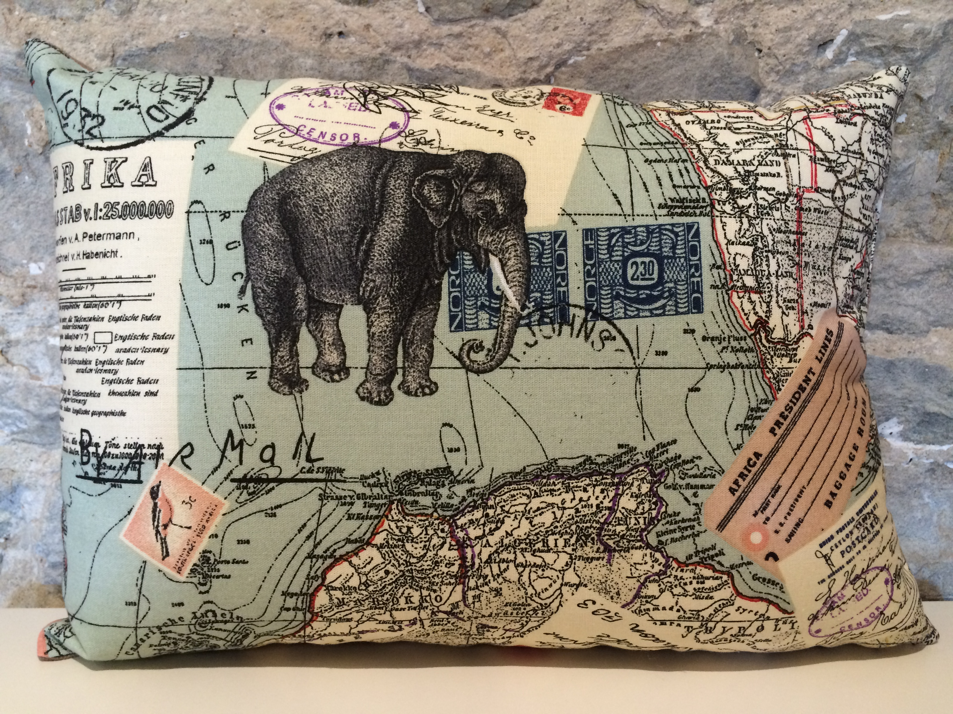 Antique Map & Elephant Cushion