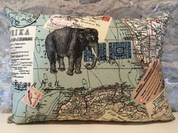 Antique Map & Elephant Cushion
