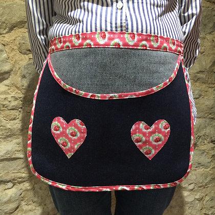Apron Style Blue Denim & pink Rose Peg Bag