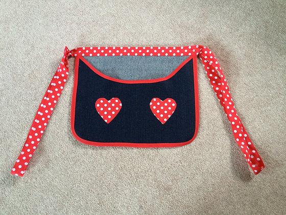 Apron Style Blue Denim & Red Spot Peg Bag