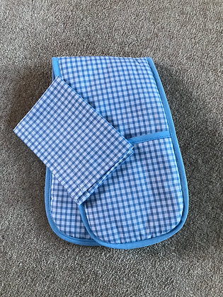 Blue Gingham Toy Oven Gloves and Tea Towel