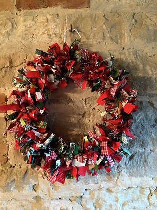 Christmas Rag Wreath Decoration